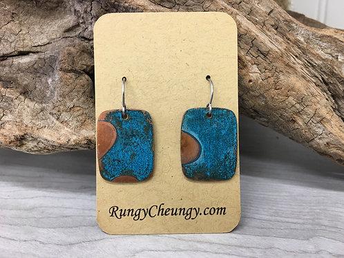 Vibrant Blue Patina on Copper Earrings