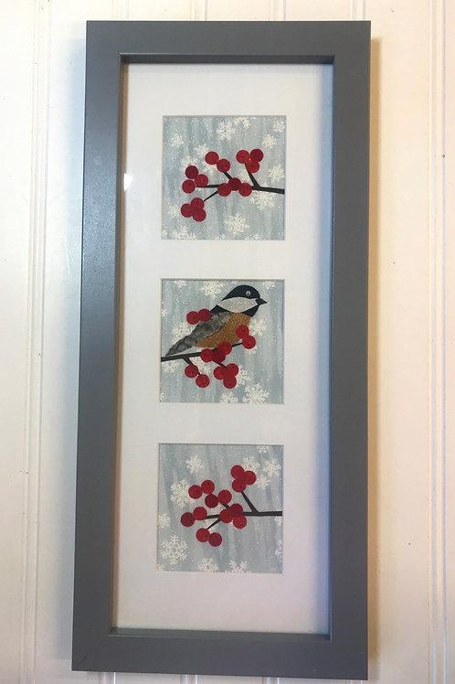 Winter Chickadee Fabric Collage