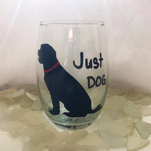 Black Dog Stemless Wine Glass