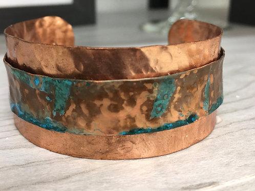 Wide Blue Patina over Copper Cuff