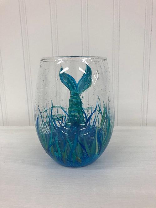 Hand painted Mermaid Stemless Wine Glass