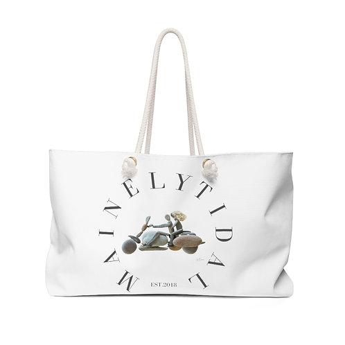 Maine Biker Weekender Bag, Oversized Bag, Boat Bag, Everyday Bag White & Gray