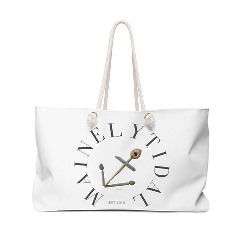 Mainely Tidal Anchor Weekender Bag, White & Gray