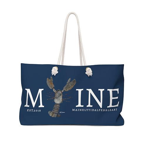 Maine Rock Lobster Weekender Bag, Beach Bag, Boat Bag Navy & White