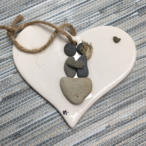 Couple on Heart Rock Ornament