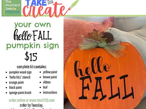 hello FALL pumpkin sign