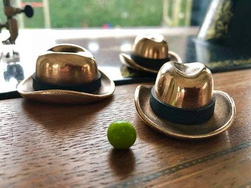Homburg Hat Style Shellgame Set cast bronze