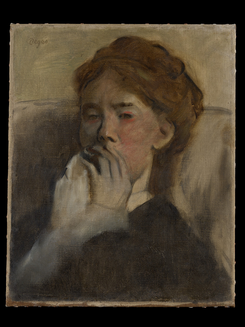 Edgar Degas' (1834-1917) depicts a woman who is either crying or ill. Painted quickly and economically, the work is most likely a study of an actual person at a particular instant, rather than a formal portrait thus capturing a powerful emotional state. Degas' father encouraged his young son's drawing by taking him frequently to Paris museums, where he began by copying Italian Renaissance paintings at the Louvre. In later life, Degas became given to bouts of depression as a consequence of his increasing blindness which resulted from an injury he suffered during his service in the Franco-Prussian War.