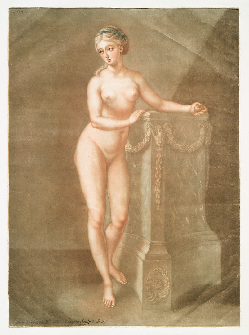 In this illustration done for the Royal College of Medicine in France, engraver Arnauld Dagoty (1741-1771) depicts a live female body in the nude. While done for scientific purposes, it was during the age ofEnlightenment when taboos against nudity began to grow and nudity was consideredobscene.