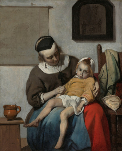 Gabriel Metsu (1528-1629) created this poignant portrayal of a sick child during the time of the plague in Amsterdam. At first glance, the artist's genre scenes appear to be simple depictions of daily life, yet many of the paintings contain symbolic meaning. This scene for instance is reminiscent of the pieta, a representation of the Virgin Mary holding her son's dead body in her lap. Also alluding to this interpretation is the painting of the Crucifixion on the back wall.