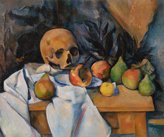 The juxtaposition in this painting by Paul Cezanne (1839-1906) is between the haunting skull and the bountiful, ripe fruits, connoting life and death and their natural harmony. This work was completed during Cezanne's final period.