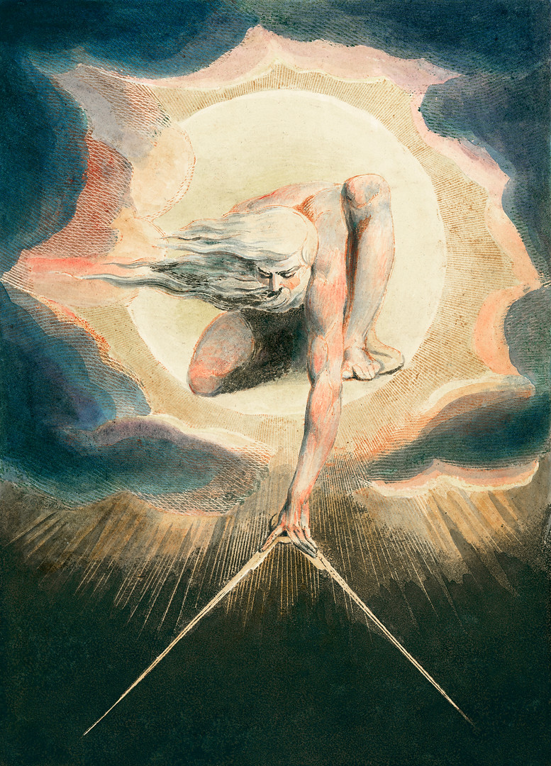 """While The Ancient of Days depicts the rational spirit, it also reflects William Blake's belief in humanity's visionary power. This frontispiece to his mythology """"Europe, a Prophecy"""" (1794) is known to have been one of his favorite images— an early work, but also one of his last works, as he painted a copy of it in bed shortly before his death."""