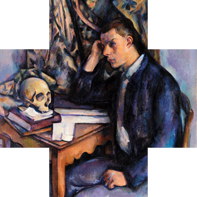 Seated in a pose recalling Renaissance representations of melancholia, a young man gazes at a skull, seemingly lost in thought. Is he pondering his own mortality? Although skulls appear in some of Cezanne's early works from the 1860s, the death of Cezanne's mother and his own declining health is commonly attributed to this painting's symbolic subject.