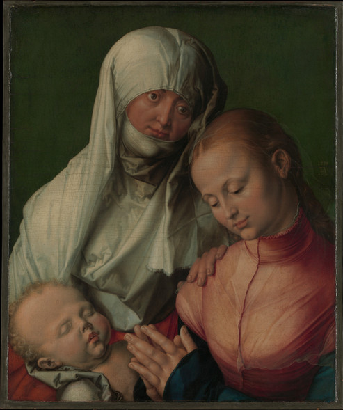 This devotional painting by Albrecht Dürer (1471-1528) from the German Renaissance depicts Saint Anne, with the Virgin and Child. St. Anne is seen holding Mary's shoulder consolingly, yet her distant gaze suggests the premonition of Christ's Passion. Considered as the greatest German Rennaissance artist, Dürer devoted his last few years mostly to scientific writings and illustrations.