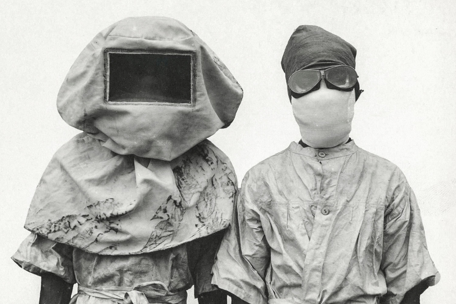 This photo shows two plague researchers in the Philippines wearing protective masks and uniforms. The Third Plague, which originated in Yunnan, China in 1855 was the last major pandemic of plague, but unlike the Black Death which claimed millions of lives in Europe, the Third Plague was mostly bubonic plague.  By the end 1912, Dr. Heiser, chief quarantine officer, and director of health of the Philippine Islands, reported 17 cases of plague in Manila, with 15 deaths. The cases were traced to thefreight warehouse of the Manila & Dagupan Railway Co. where several dead rats were discovered.