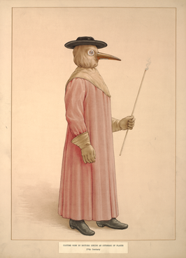 A 17th century watercolor work depicting the costume worn by doctors during the outbreak of plague. In times ofepidemics, physicians were hired by towns. Since the city was paying their salary, they treated both the wealthy and the poor. The protective suit consisted of a mask withglasseye openings and abeakshaped nose, typically stuffed with herbs, straw, and spices includingjuniper berry,ambergris,roses,mint leaves, camphor,cloves,laudanum,myrrh, andstorax to protect them from the disease which they believe was airborne. Plague doctors would also carry a cane which was used to examine patients without making direct contact.