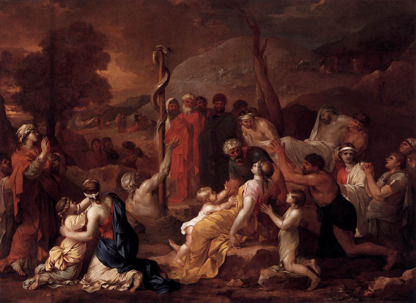 """""""TheLordsent fiery serpents among the people andthey bit the people, so thatmany people of Israel died.So the people came to Moses and said, """"We have sinned, because we have spoken against theLordand you;intercede with theLord, that He may remove the serpents from us."""" And Moses interceded for the people.Then theLordsaid to Moses, """"Make afieryserpent, and set it on a standard; and it shall come about, that everyone who is bitten, when he looks at it, he will live.""""And Moses made abronze serpent and set it on the standard; and it came about, that if a serpent bit any man, when he looked to the bronze serpent, he lived."""" Numbers 21:6-9  Note that the serpent-entwined rod also appears in the mythology of the Greek godAsclepius, a deity associated with healing and medicine. The symbol has continued to be used in modern times, especially in medicine and health care."""