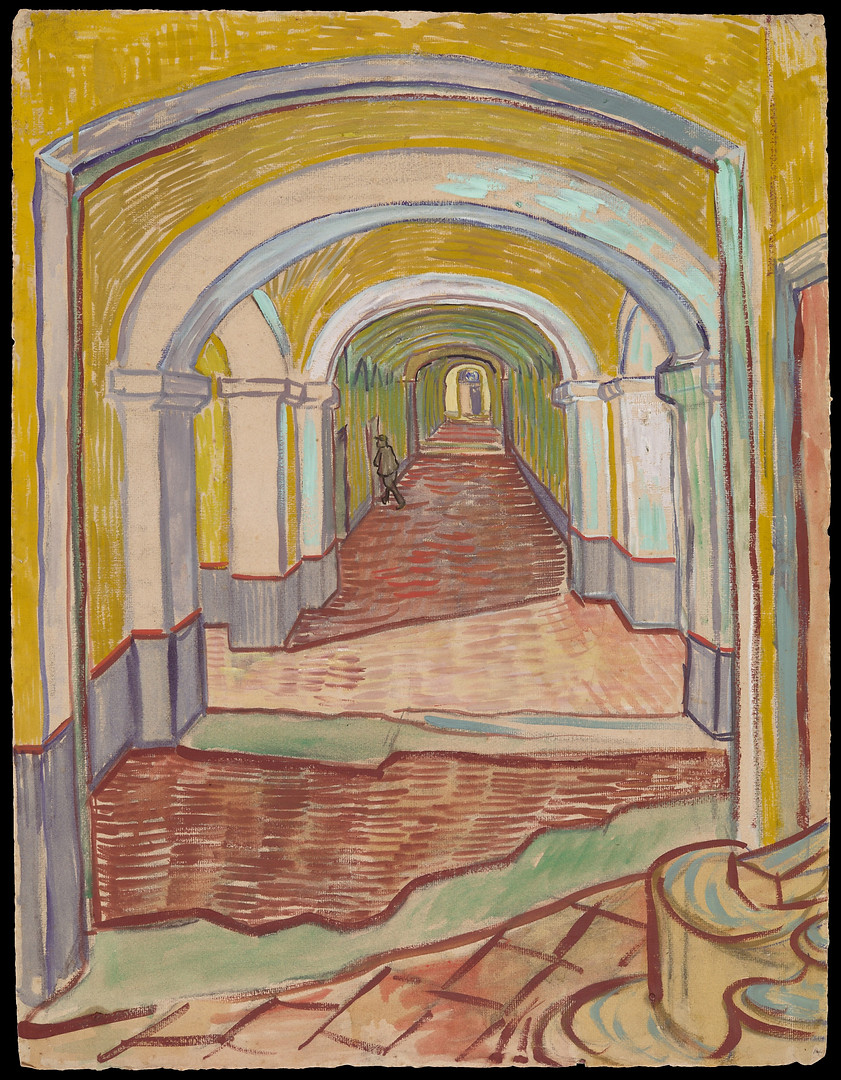 This receding view of a corridor is a powerful depiction of the asylum of Saint-Paul-de-Mausole in St. Rémy. Vincent Van Gogh (1853-1890) had spent twelve months in the asylum nearing the end of his life. It is said that the artist sent this unusually large and colorful drawing to Theo, his brother, to give him a picture of his surroundings.