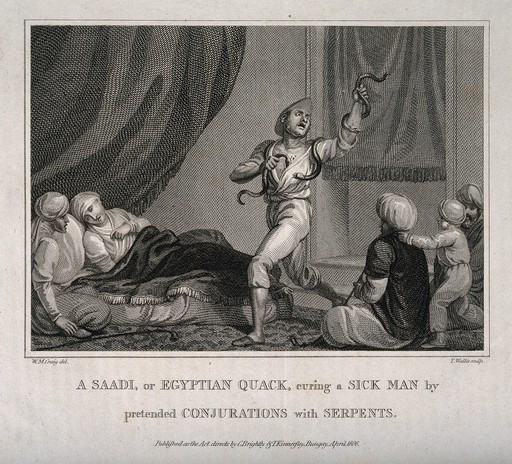 """The text below this 1806 engraving reads """"A SAADI, or EGYPTIAN QUACK, curing a SICK MAN by pretended CONJURATIONS with SERPENTS."""" Common in museum collections are colonial representations of indigenous cultures, and the politicisation of civility. The use of the term """"quack"""" for example imposes simplicity on diverse and complex traditions, reinforce racist ideas, and perpetuate notions of the """"other"""" from a colonial perspective."""