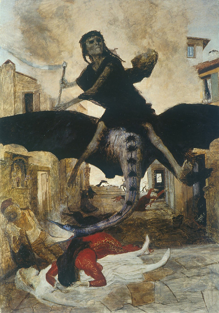 Exemplifying the artist's obsession with war,pestilence, and death, this painting by Swiss symbolist painter Arnold Böcklin (1827-1901) shows an allegory ofDeathriding on a bat-like creature, travelling through the streets of medieval Europe. The artist himself nearly succumbed to typhoid in 1859. It is said that Adolf Hitlerwas quite fond of Böcklin's work, owning at one time 11 of his paintings.