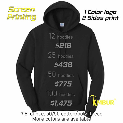 25 Hoodies DEAL - 1 Color logo - 2 sides printing -