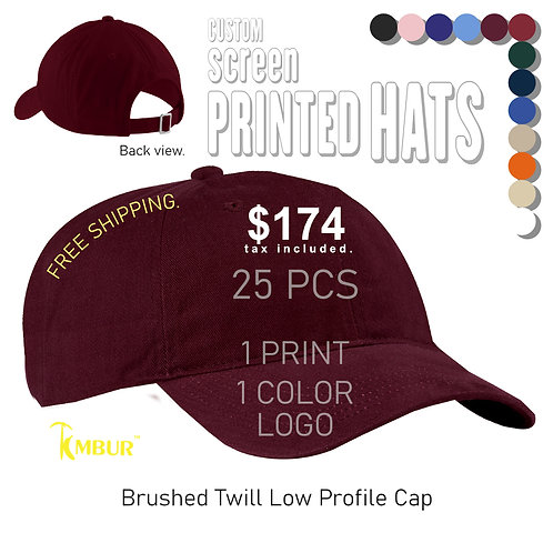 1 Color logo - Front panel printing - 25 - Dad Hats DEAL
