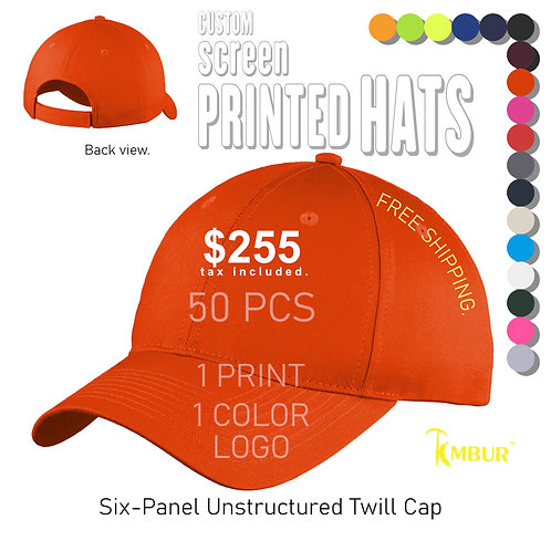 1 Color logo - Front panel printing - 50 - Hats DEAL