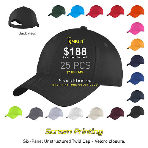 1 Color logo - Front panel printing - 25 - Hats