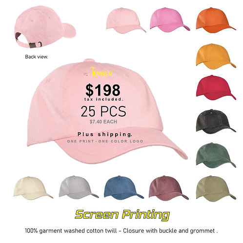 1 Color logo - Front panel printing - 25 - Dad Hats