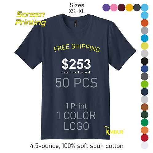 1 Color logo - 1 side printing - 50 - T-shirts DEAL