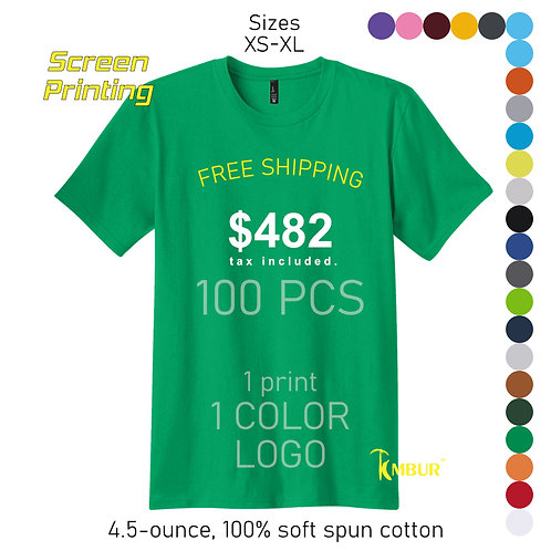 1 Color logo - 1 side print - 100 Unisex T-shirts package