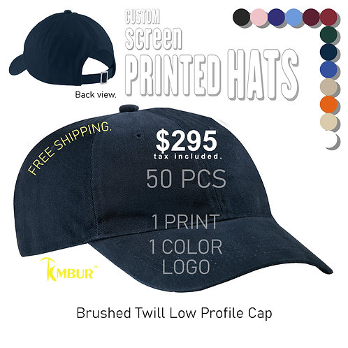 1 Color logo - Front panel printing - 50 - Dad Hats DEAL