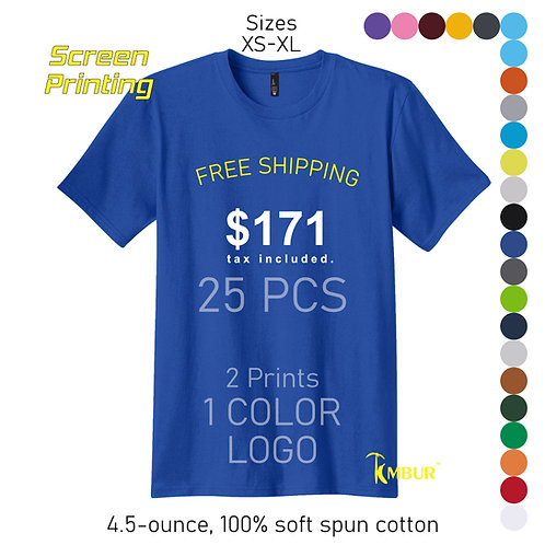 1 Color logo - 2 sides print - 25 Unisex T-shirts package