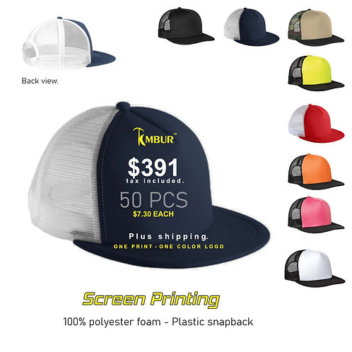 1 Color logo - Front panel printing - 50 - Trucker Hats