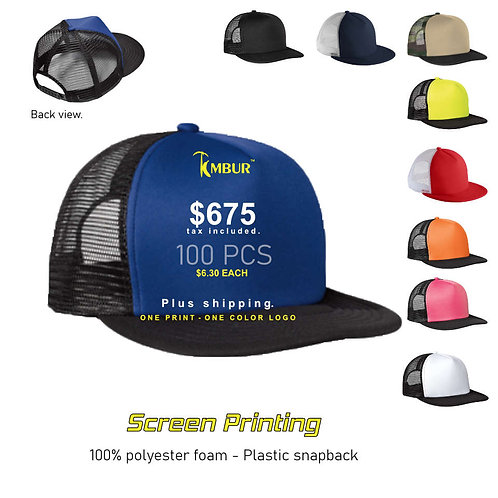 1 Color logo - Front panel printing - 100 - Trucker Hats