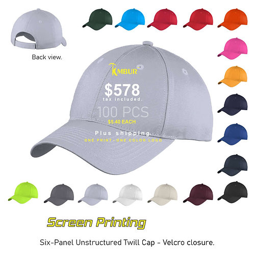 1 Color logo - Front panel printing - 100 - Hats package