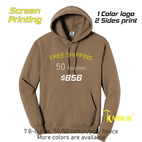 50 Hoodies DEAL - 1 Color logo - 2 sides printing -