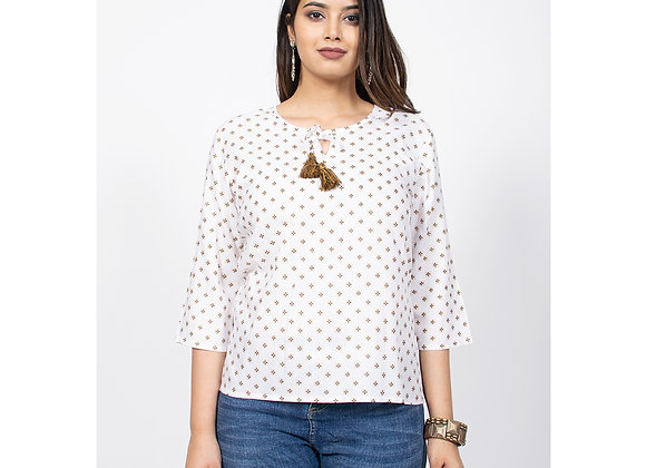 White Color Dotted Top