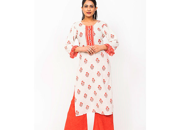 Orange Printed Kurti set