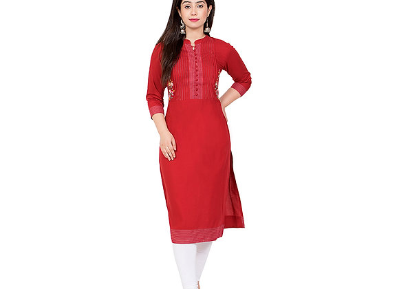 Red Pintex Kurta