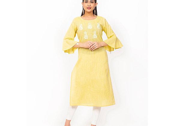 Yellow Color Embroidery Design Kurti