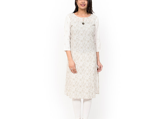 White Gold Printed Kurta