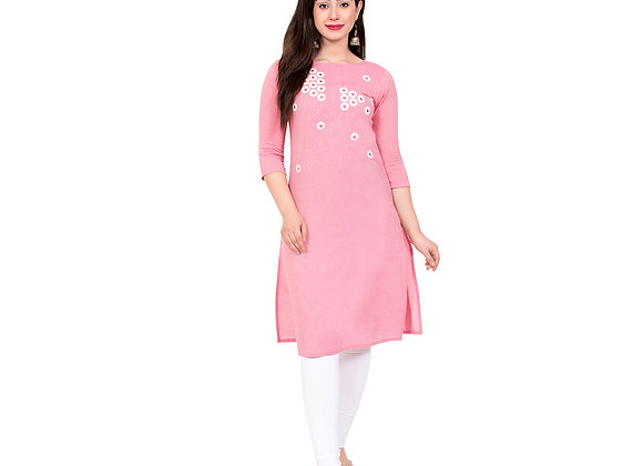 Pink color Kurta with white embroidery