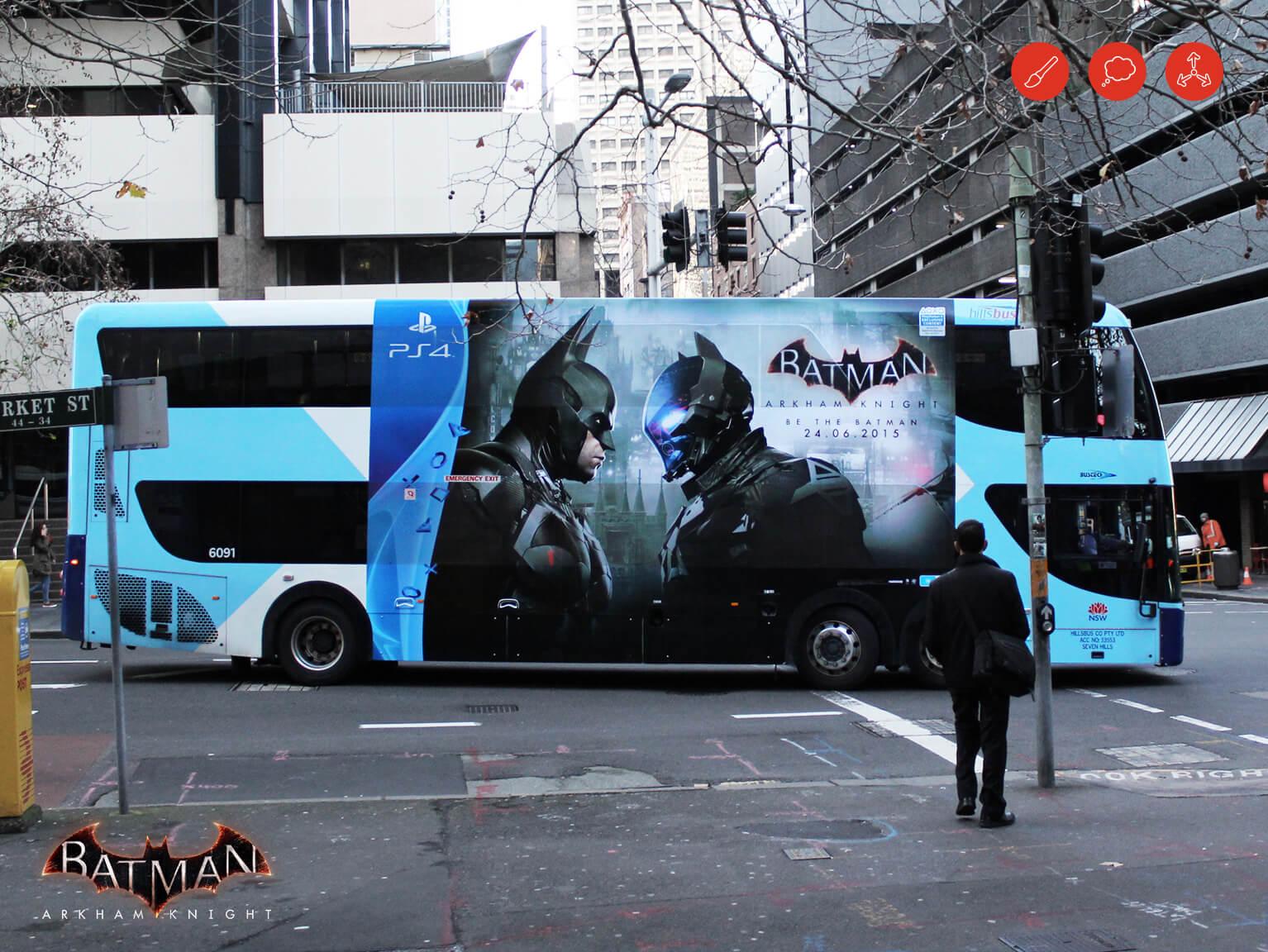 Batman Arkham Knight bus advertising