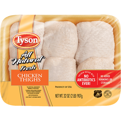 2 lb Chicken Thighs All Natural Value Pack | $1.29/lb