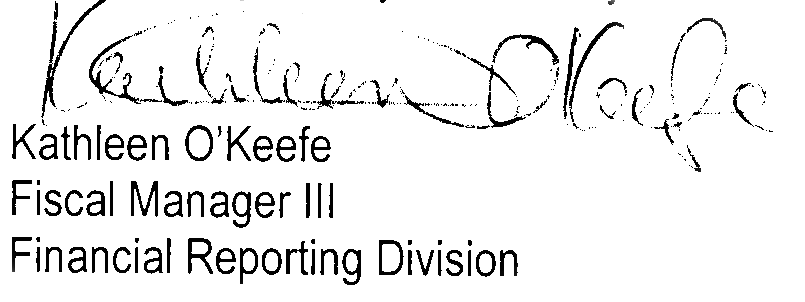 Signature of Kathy O'Keefe, our point of contact with the County in 2009