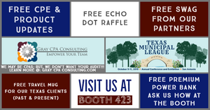 The team Gray & Gray CPA, PC is Excited for the 2019 Texas Municipal League Conference. proud to represent CaseWare International Inc., UiPath, and AccuFund, Inc. Visit us at Table 423 for free stuff and great info. #Yeehaw 🤠