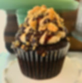 _Chocolate cupcake with peanut butter bu