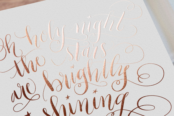 Rose Gold Christmas card design by Beth Hunt Calligraphy on Minted!