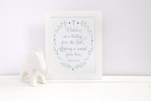 Psalm 127:3 Printable: Nursery Art Print (Blue)